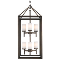 Smyth 6 Light 16 inch Gunmetal Bronze Pendant Ceiling Light in Opal Glass