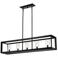 Golden Lighting 2073-LP BLK-CLR Smyth 41 inch Matte Black Island Light Ceiling Light in Clear Glass
