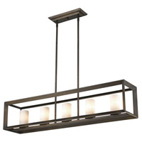 Smyth 5 Light 41 inch Gunmetal Bronze Linear Pendant Ceiling Light in Opal Glass