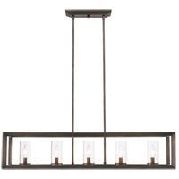 Golden Lighting 2073-LP-GMT Smyth 5 Light 41 inch Gunmetal Bronze Linear Pendant Ceiling Light in Clear Glass