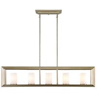 Smyth 5 Light 41 inch White Gold Linear Pendant Ceiling Light in Opal Glass