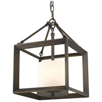 Golden Lighting 2073-M3-GMT-OP Smyth 3 Light 12 inch Gunmetal Bronze Mini Chandelier Ceiling Light Convertible to Semi-Flush