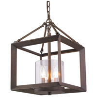 Golden Lighting 2073-M3-GMT Smyth 3 Light 12 inch Gunmetal Bronze Mini Chandelier Ceiling Light Convertible to Semi-Flush