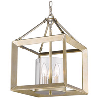 Golden Lighting 2073-M3-WG-CLR Smyth 3 Light 12 inch White Gold Mini Chandelier Ceiling Light Convertible to Semi-Flush