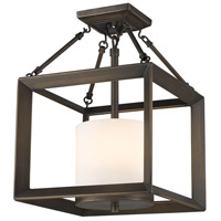 Golden Lighting 2073-SF-GMT-OP Smyth 3 Light 12 inch Gunmetal Bronze Semi-Flush Mount Ceiling Light in Opal Glass, Convertible