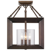 Smyth 3 Light 12 inch Gunmetal Bronze Semi-Flush Ceiling Light in Clear Glass, Convertible