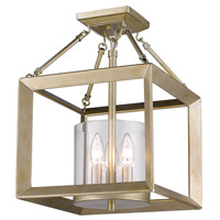 Golden Lighting 2073-SF-WG-CLR Smyth 3 Light 12 inch White Gold Semi-Flush Mount Ceiling Light in Clear Glass, Convertible