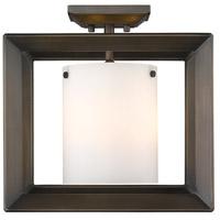 Golden Lighting 2073-SF12-GMT-OP Smyth 3 Light 12 inch Gunmetal Bronze Semi Flush Mount Ceiling Light Low Profile