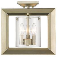 Golden Lighting 2073-SF12-WG-CLR Smyth 3 Light 12 inch White Gold Semi Flush Mount Ceiling Light Low Profile
