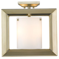 Golden Lighting 2073-SF12-WG-OP Smyth 3 Light 12 inch White Gold Semi Flush Mount Ceiling Light Low Profile