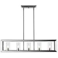 Golden Lighting 2074-LP-CH-CLR Smyth 5 Light 41 inch Chrome Linear Pendant Ceiling Light in Clear Glass