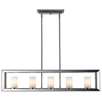 Smyth 5 Light 41 inch Chrome Linear Pendant Ceiling Light in Opal Glass