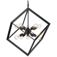 Golden Lighting 2083-10P BLK Architect 10 Light 31 inch Matte Black Pendant Ceiling Light Caged