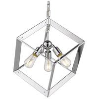 Golden Lighting 2083-3P-CH Architect 3 Light 17 inch Chrome Foyer Pendant Ceiling Light