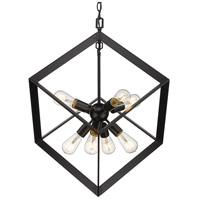 Golden Lighting 2083-8P BLK Architect 8 Light 26 inch Matte Black Pendant Ceiling Light Caged
