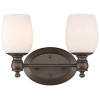 Golden Lighting 2115-BA2-RBZ-OP Constance 2 Light 14 inch Rubbed Bronze Bath Vanity Wall Light