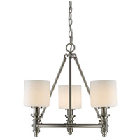 Golden Lighting 2116-3-PW-OP Beckford PW 3 Light 19 inch Pewter Chandelier - Mini Ceiling Light