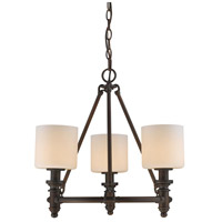 Golden Lighting 2116-3-RBZ-OP Beckford RBZ 3 Light 19 inch Rubbed Bronze Chandelier - Mini Ceiling Light