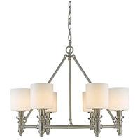 Golden Lighting 2116-6-PW-OP Beckford 6 Light 28 inch Pewter Chandelier Ceiling Light