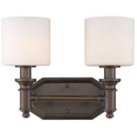 Golden Lighting 2116-BA2-RBZ-OP Beckford 2 Light 13 inch Rubbed Bronze Bath Vanity Wall Light