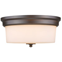 Multi-Family 3 Light 15 inch Rubbed Bronze Flush Mount Ceiling Light