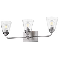 Golden Lighting 2120-BA3-PW-CONE-CLR Ormond PW 3 Light 26 inch Pewter Bath Fixture Wall Light