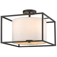 Golden Lighting 2243-SF-BLK-MWS Manhattan 3 Light 15 inch Matte Black Semi-Flushmount Ceiling Light