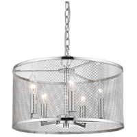 Golden Lighting 2245-5-CH London 5 Light 16 inch Chrome Pendant Ceiling Light Convertible