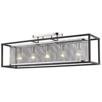 Golden Lighting 2245-5SF-CH-BLK London 5 Light 36 inch Chrome Semi-Flushmount Ceiling Light Convertible