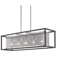Golden Lighting 2245-LP-CH-BLK London 5 Light 36 inch Chrome Linear Pendant Ceiling Light Convertible