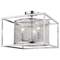 Golden Lighting 2245-SF-CH-CH London 3 Light 15 inch Chrome Semi-Flushmount Ceiling Light
