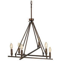 Garvin 6 Light 27 inch Rubbed Bronze Chandelier Ceiling Light