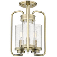 Golden Lighting 2380-3SF-AB-SD Holden 3 Light 12 inch Aged Brass Semi-Flush Ceiling Light