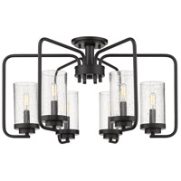 Golden Lighting 2380-6SF-BLK-SD Holden 6 Light 25 inch Black Semi-Flush Ceiling Light