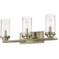 Golden Lighting 2380-BA3-AB-SD Holden 3 Light 22 inch Aged Brass Bath Fixture Wall Light