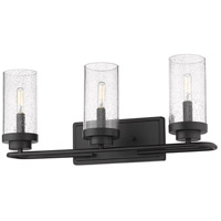 Golden Lighting 2380-BA3-BLK-SD Holden 3 Light 22 inch Black Bath Fixture Wall Light