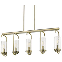 Golden Lighting 2380-LP AB-SD Holden 5 Light 36 inch Aged Brass Linear Pendant Ceiling Light