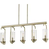 Golden Lighting 2380-LP-AB-SD Holden 5 Light 36 inch Aged Brass Linear Pendant Ceiling Light