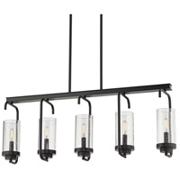 Golden Lighting 2380-LP-BLK-SD Holden 5 Light 36 inch Black Linear Pendant Ceiling Light