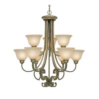 Golden Lighting Rockefeller 9 Light Chandelier in Forged Iron with Linen Swirl Glass 2488-9-FI alternative photo thumbnail