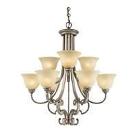 Golden Lighting Rockefeller 9 Light Chandelier in Forged Iron with Linen Swirl Glass 2488-9-FI photo thumbnail