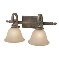 Golden Lighting Rockefeller 2 Light Bath Fixture in Forged Iron with Linen Swirl Glass 2488-BA2-FI alternative photo thumbnail