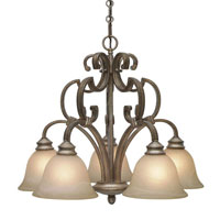 Golden Lighting Rockefeller 5 Light Chandelier in Forged Iron with Linen Swirl Glass 2488-D5-FI photo thumbnail