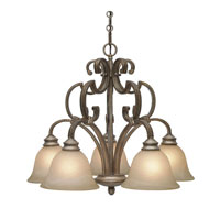 Golden Lighting Rockefeller 5 Light Chandelier in Forged Iron with Linen Swirl Glass 2488-D5-FI alternative photo thumbnail