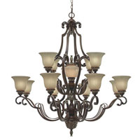 Golden Lighting Bristol Place 13 Light Chandelier in New World Bronze with Fleur De Lille Glass 2501-13L-NWB