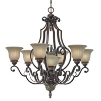 Golden Lighting Bristol Place 7 Light Chandelier in New World Bronze with Fleur De Lille Glass 2501-7-NWB