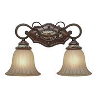 Golden Lighting Bristol Place 2 Light Bath Fixture in New World Bronze with Fleur De Lille Glass 2501-BA2-NWB