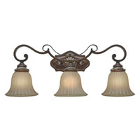 Golden Lighting Bristol Place 3 Light Bath Fixture in New World Bronze with Fleur De Lille Glass 2501-BA3-NWB