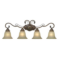 Golden Lighting Bristol Place 4 Light Bath Fixture in New World Bronze with Fleur De Lille Glass 2501-BA4-NWB photo thumbnail