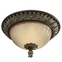 Golden Lighting Bristol Place 2 Light Flush Mount in New World Bronze with Fleur De Lille Glass 2501-FM-NWB